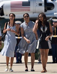 """Morocco is a country decorated with beautiful prints, so naturally, when Michelle Obama, Sasha and Malia hit Marrakesh, they want to reflect the culture in their clothing. The first family (sans POTUS) is in the country on Mrs. Obama's global tour for her """"Let Girls Learn"""" initiative. For"""