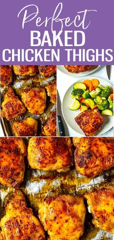 This recipe for the Perfect Baked Chicken Thighs shows you how to cook juicy chicken, whether you& using boneless or bone-in, skin on chicken thighs. The spice blend is delicious and versatile too! Baked Bone In Chicken, Healthy Chicken Thigh Recipes, Baked Boneless Chicken Thighs, Perfect Baked Chicken, Keto Chicken Thighs, Bone In Chicken Thighs, Chicken Thights Recipes, Bone In Chicken Recipes, Healthy Pasta Recipes