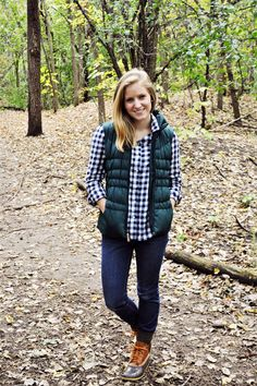 Button up shirt (love the gingham!), puffer vest, skinny jeans and booties. So simple and awesome.