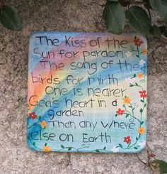 Handcrafted square cement rainbow plaque with by LeavesofSunshine