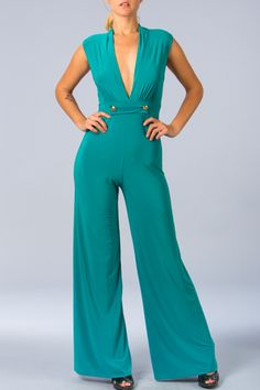 Wide Leg Jumpsuit With Button Accented