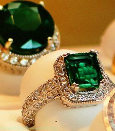 Diamond and Emerald Rings