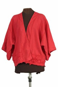 Flaming Lantern - red linen kimono/haori jacket from Secret Lentil