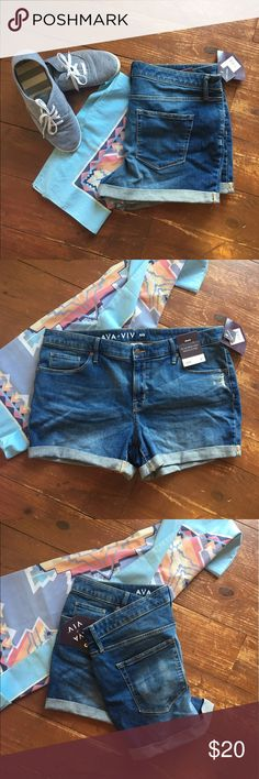 Brand new boyfriend style denim shorts! Your cute shorts, only selling because they're a little tighter than I would like. Slight stretch, cute and medium wash. So versatile! Ava & Viv Shorts Jean Shorts