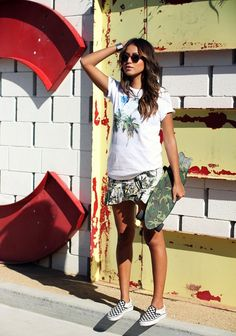 """For all our """"Skater Lovers"""" grap a pair of canvas slip-ons, printed drapey shorts, and tropical tees!"""