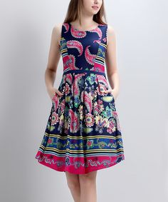 Loving this Navy Paisley Fit & Flare Dress on #zulily! #zulilyfinds