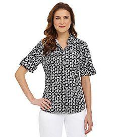 Allison Daley Petites Printed RollTab Shirt #Dillards