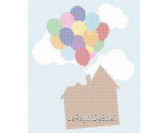 Cross stitch pattern UP film ballons house - nursery decor - baby shower gift.
