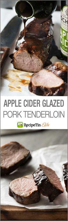 Apple Cider Glazed Pork Tenderloin - Apple Cider is a secret weapon to marinade pork tenderloin so it's juicy AND to make an incredible glaze!