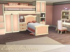 The Esther bedroom makes for an inviting bedroom in soothing earth tone hues. Found in TSR Category 'Sims 3 Kids Bedroom Sets' Teen Furniture, Nursery Furniture, Sims 3 Rooms, Sims3 House, 3 Kids Bedroom, My Sims, House Design, Luxury, Infants