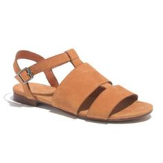 Madewell Sandstone Leather Center Strap Sandal