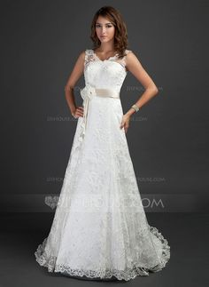 Wedding Dresses - $240.49 - A-Line/Princess V-neck Court Train Satin Lace Wedding Dress With Sash Beadwork Flower(s) (002000187) http://jjshouse.com/A-Line-Princess-V-Neck-Court-Train-Satin-Lace-Wedding-Dress-With-Sash-Beadwork-Flower-S-002000187-g187?ver=xdegc7h0