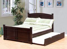 Great Adena Espresso Faux Leather Full Bed W/ Trundle