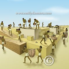 This illustration is part of a poster illustrating one theory of how the Pyramids of Giza were constructed.