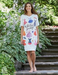 Go Frock Yourself Women's Sleepshirt - Justin Porterfield ltd Women's Sleep Shirts, Frocks, Fashion Accessories, Shirt Dress, Floral, Inspiration, Beautiful, Dresses, Biblical Inspiration