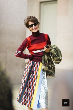 Woman wearing a Pucci dress during Milan Fashion Week Spring Summer 2017