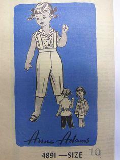 UNUSED Vintage 1950s Mail Order Anne Adams 4891 Shirt, Jacket, Shorts, & Matador Pants Pattern girls sz 10 by RaggsPatternStash on Etsy