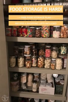Food storage doesn't have to be hard. Check out this FREE recipe based food storage plan with recipes, shopping lists and easy to shop for food storage items to start a food storage today. Lds Food Storage, Long Term Food Storage, Food Storage Containers, Storage Ideas, Prepper Food, Survival Food, Emergency Food Supply, Emergency Preparedness, Free Meal Plans