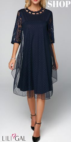 09072334dd USD41.05 Three Quarter Sleeve Mesh Overlay Dress  liligal  dresses