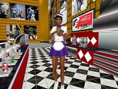 Matahari Style Carhop Waitress Outfit This outfit works for stander Avatar and Sapphira Applier an. Waitress Outfit, Skate, Modeling, Purple, Fun, Outfits, Suits, Modeling Photography, Models