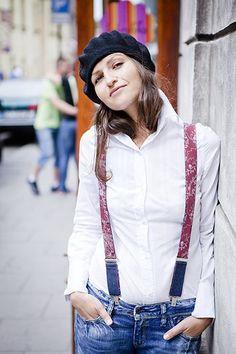 Denim Dark  Red Suspenders for Women Carime Braces by baboshkaa, $32.00