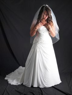 David's Bridal Chiffon Over Satin Gown with Side Draped Skirt Style WG3483 STILL FOR SALE