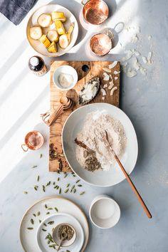 Healthy Cardamom Banana Bread Pancakes /