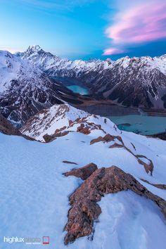 Aoraki Mount Cook and Hooker Valley from Sealy Range, Aoraki Mount Cook National Park, New Zealand