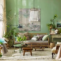 Living trends for the year 2017 dezente-wandfarbe-grün, Living Room Green, Green Rooms, Interior Design Living Room, Living Room Decor, Living Spaces, Interior Decorating, Green Walls, Decoracion Low Cost, Retro Home Decor