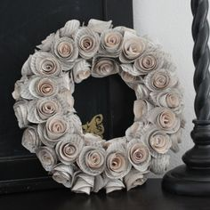 "12"" upcycled book page wreath - hand rolled paper roses"