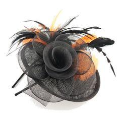 Black & Orange Circular Upturned 20cm Disc Shaped Sinamay Hair Fascinator  EBFAS-001 £29.50 free pp