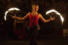 Fire-spinning spectacular by fire art entertainers of the Boston Circus Guild at the Hungry Tiger Street Festival 2011 in Union Square.