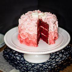 Moist rosette red velvet cake
