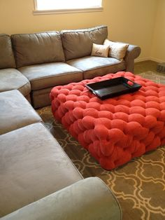 Life Frosting: My home-upholstered ottoman. I AM SOLD BY THIS ONE!