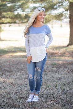 Sweet Serendipity Striped Blouse Light Blue - The Pink Lily