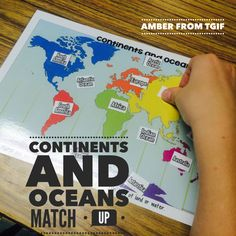 Continents of the World Map Activity  Geography for Kids    Ideas     Students will get hands on practice learning the continents and oceans with  this activity  Easy center for teachers