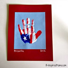 Patriotic Hand Print Craft - great gift for a military service person to receive from home.