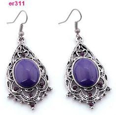 G445: Tibetan Silver Crystal Beaded Earrings AnneE and Carolyn (?)