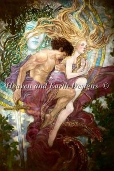 Gwenevere - Artwork by Rebecca Guay.  Chart design by Michele Sayetta for Heaven and Earth Designs.