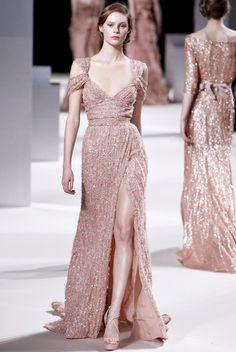 Elie Saab Metallic Gown Bridal Champagne