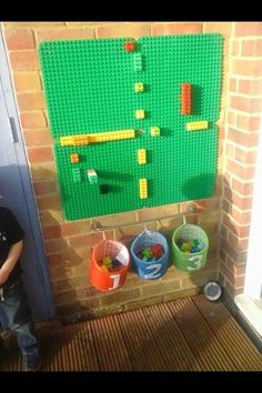 Our duplo wall we use it to count on, create patterns and just build. A great r… – natural playground ideas Outdoor Learning Spaces, Outdoor Play Areas, Eyfs Outdoor Area Ideas, Outdoor Rooms, Outdoor Walls, Outdoor School, Outdoor Classroom, Reception Classroom Ideas, Preschool Classroom