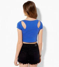 Blue AE Cutout Cropped T-Shirt
