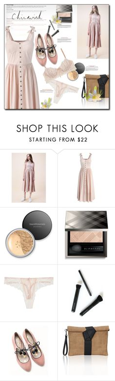 """""""Chicwish contest - Dashing Darling Cami Dress in Light Pink"""" by ayncard ❤ liked on Polyvore featuring Chicwish, Bare Escentuals, Burberry, Heidi Klum Intimates, Japonesque, Boden and chicwish"""