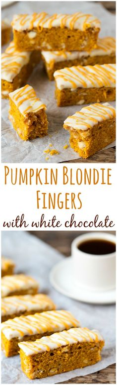 Delicious spiced PUMPKIN BLONDIE bars with white chocolate chips and white chocolate topping. Perfect with your morning cup of coffee!