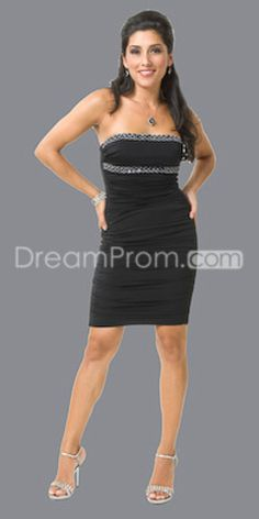 Black Knee-Length Strapless Sheath/Column Cocktail Dress (available in multiple colors)