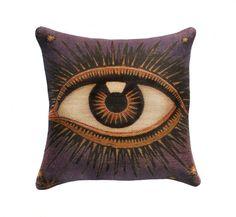 "Eye Pillow Cover, Burlap Decorative Throw Pillow, Purple & Orange, Celestial, Zodiac, Conceptual, 16"". $56.00, via Etsy."