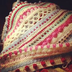 Inspiration :: Beautiful mixed stitches & color, crocheted by Paige, aka labybird.ladybird   . . . .   ღTrish W ~ http://www.pinterest.com/trishw/  . . . .  #crochet #afghan #blanket #throw