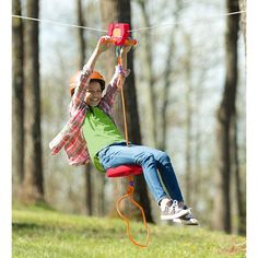 HearthSong Red Zipline Kit for Kids - Adjustable and Removable Seat - Non Slip Carriage Handles and Rubber Brake - Backyard Playground Equipment - Approx. Kids Outdoor Play, Backyard For Kids, Outdoor Fun, Outdoor Games, Outdoor Playset, Outdoor Forts, Kids Yard, Backyard Projects, Outdoor Projects