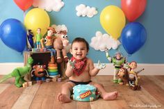 Best baby photo shoot themes and ideas 2nd Birthday Photos, 2nd Birthday Party Themes, Baby Boy First Birthday, Toy Story Birthday, Birthday Ideas, 2 Year Old Birthday, Cumple Toy Story, Festa Toy Story, Toy Story Baby