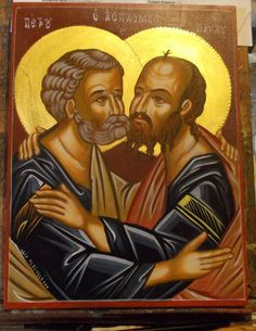 """Original hand-painted byzantine icon on canvas and piece of wood following the rules of byzantine art. """" The St. Peter and Paul """". The materials used for painting are wood panel,egg tempera, gold leaf 22k,varnish. 